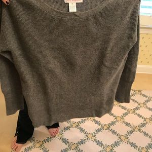 Grey cashmere sweater with orange zippers on side